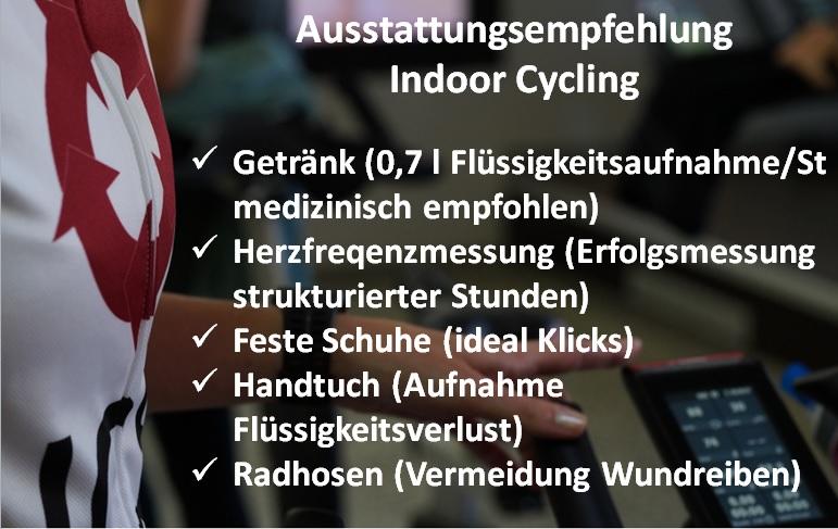 Ausstattungsempfehlung Indoor Cycling